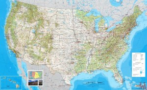 Large Political, physical, geographical map of USA -3