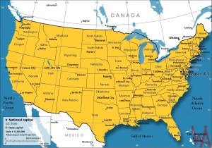 Large  attractive one color political map of the USA with capital major cities