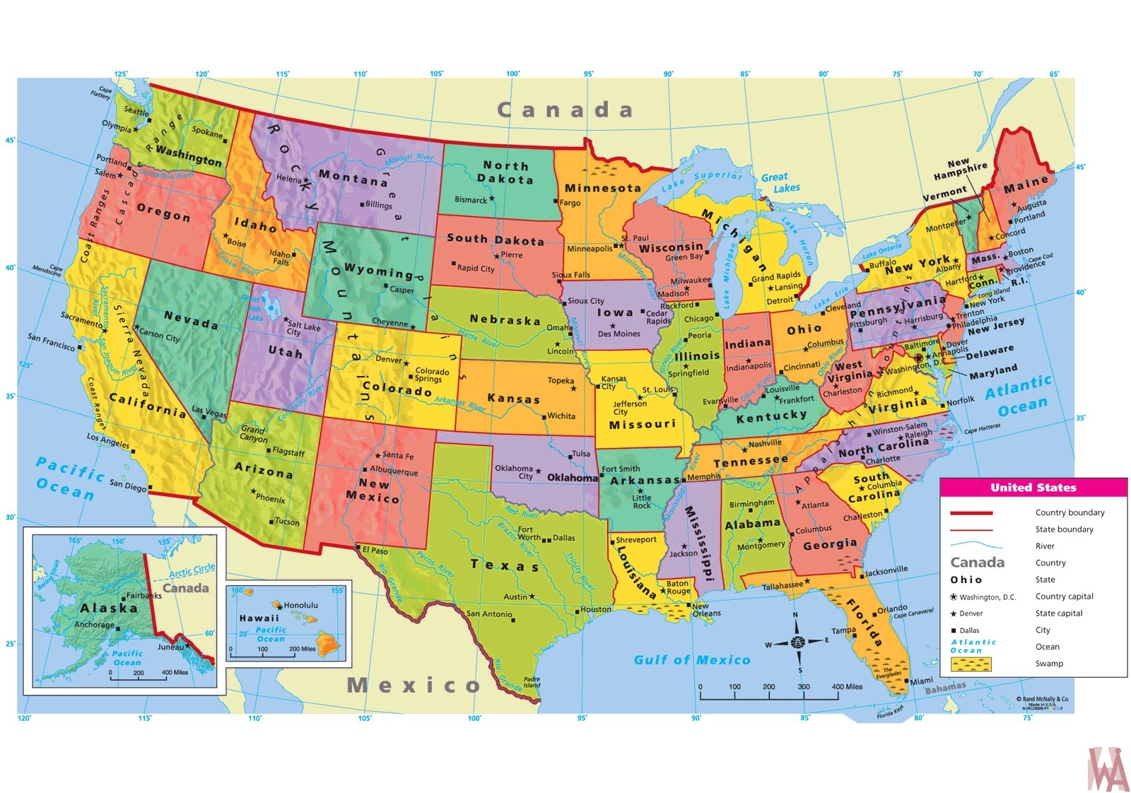 Picture of: Large Attractive Political Map Of The Usa With Capital And Main Cities Whatsanswer