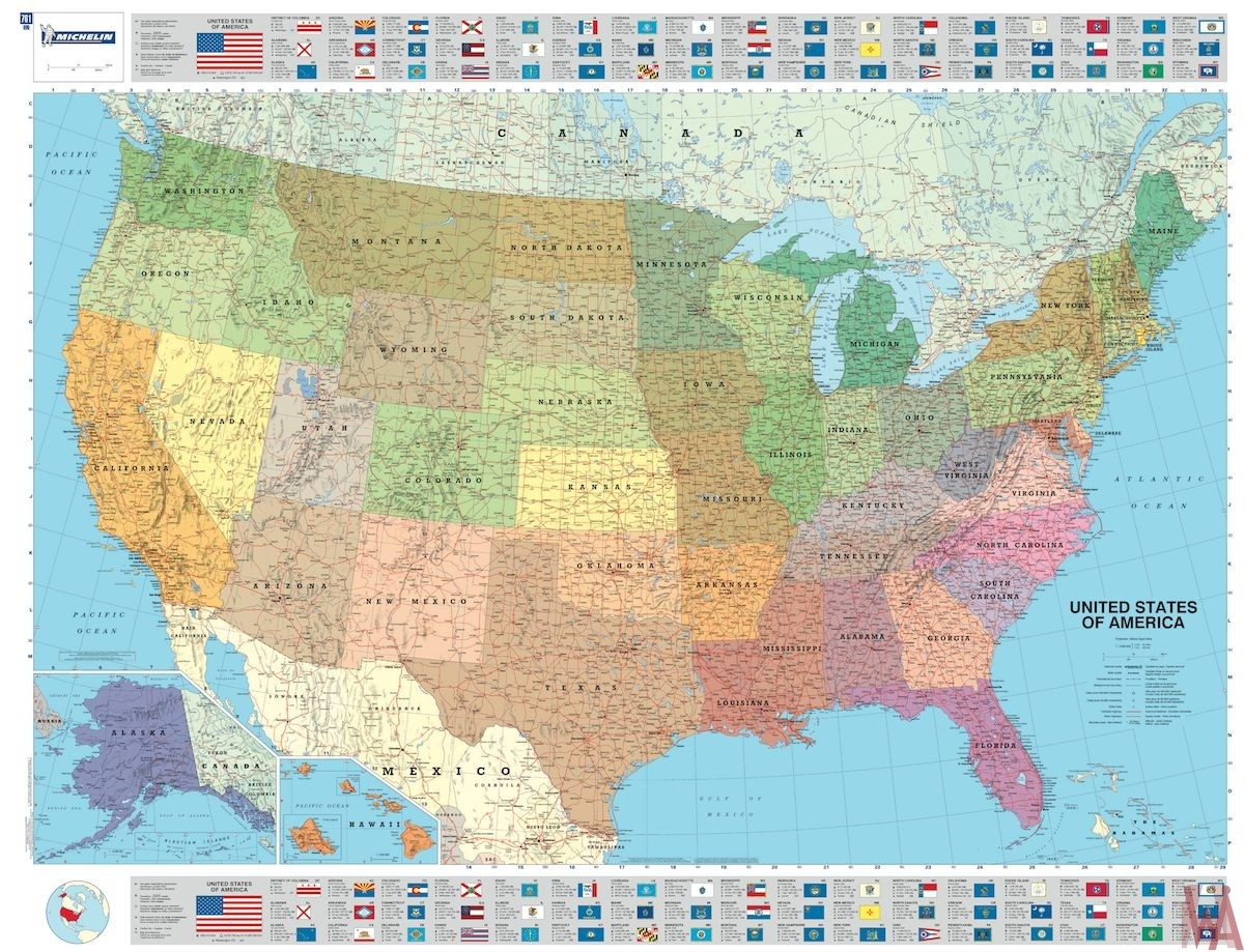 Large political map of the USA 1