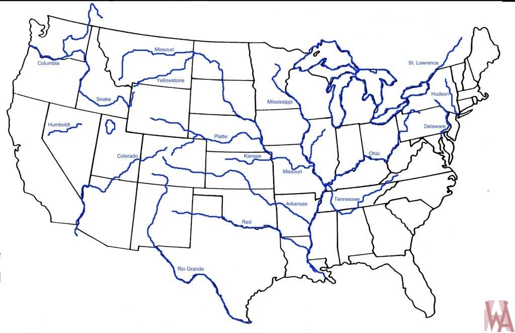 Major Rivers and lake Map of the USA 2