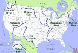 Major Rivers and lake Map of the USA 4