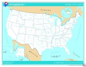 Major Rivers and lake Map of the USA 6