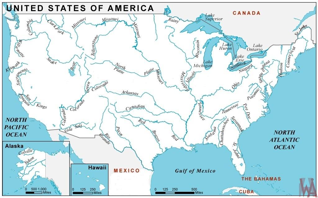 Major Rivers and lake Map of the USA