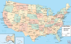 National  Capital, States Capital,Major Cities, Roads and Rivers Map of the USA