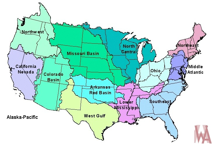 River Basin  map of the USA