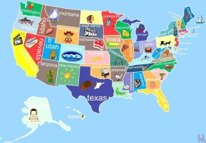 State Wise major tourist attractions maps of the USA