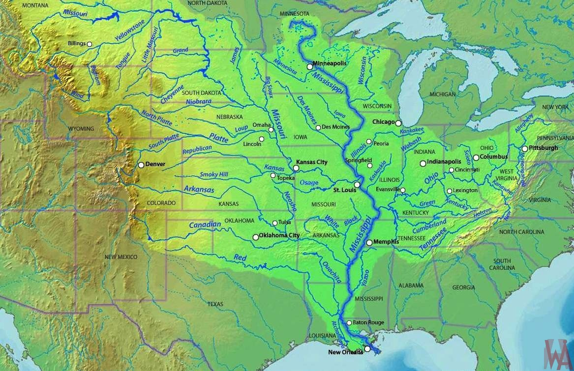 Mississippi River Topographic Map Topographical Maps of the USA | WhatsAnswer