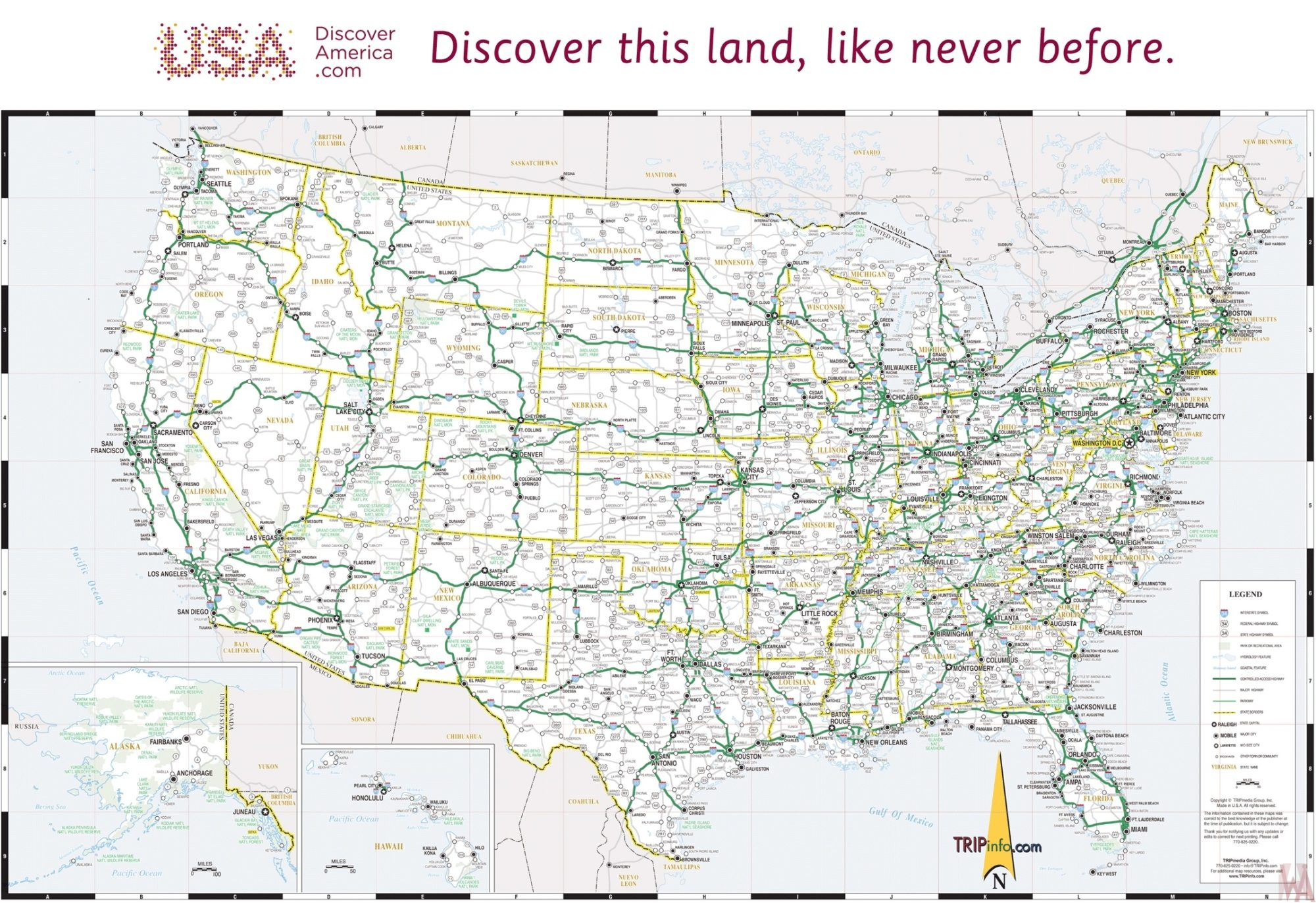 USA all in one travel map