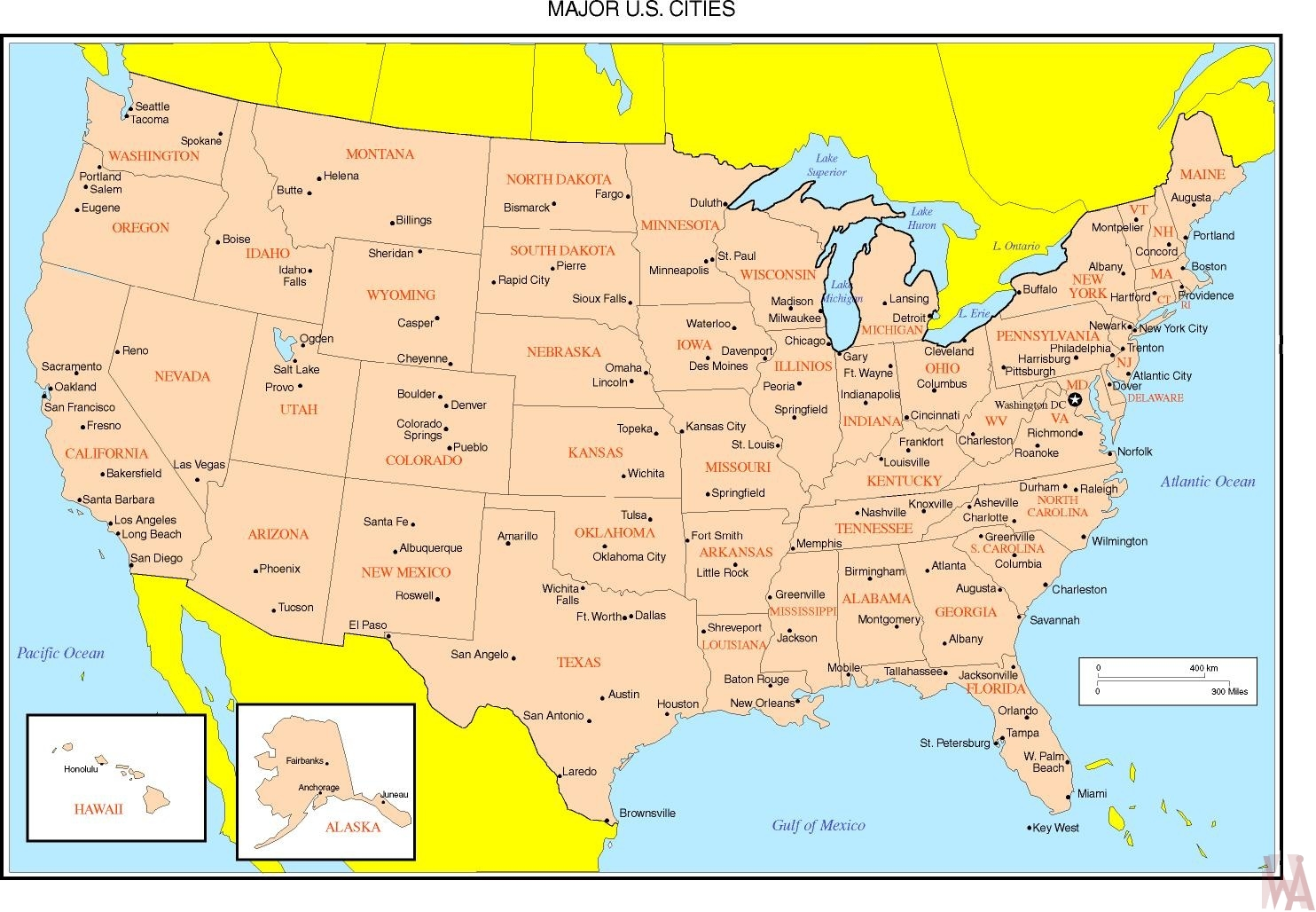 United States Political Map major cities | WhatsAnswer