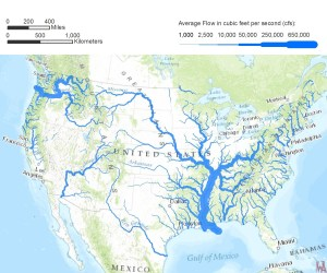 United States  Rivers water flows map 2