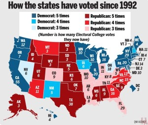 Vote Since 1992 map of USA