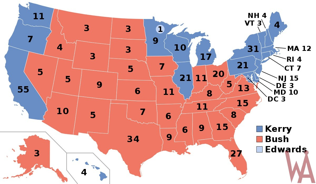 electoral college map political election 2004