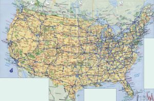 High Resolution Highways And Political Map of the USA