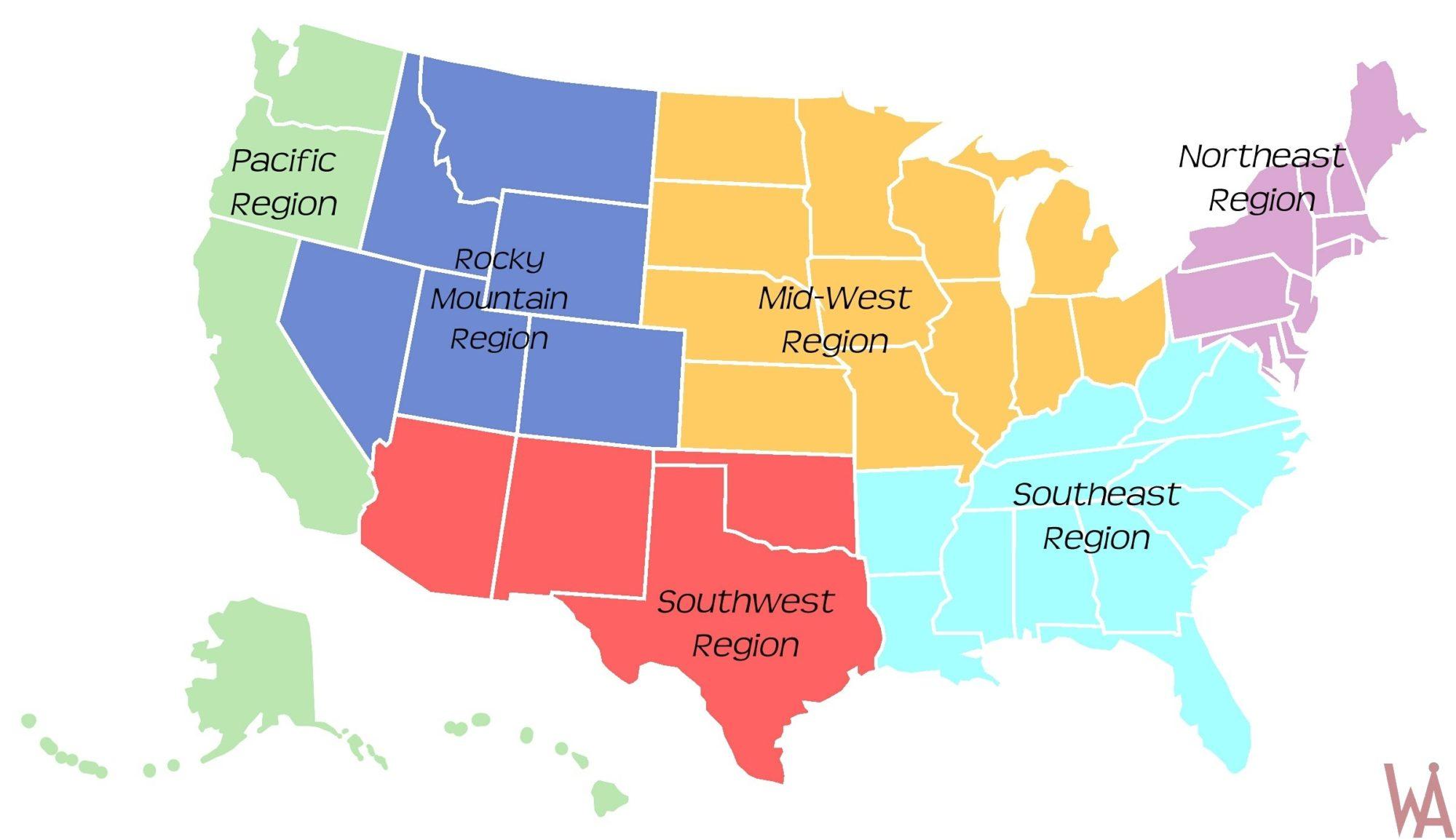 interactive region map of USA