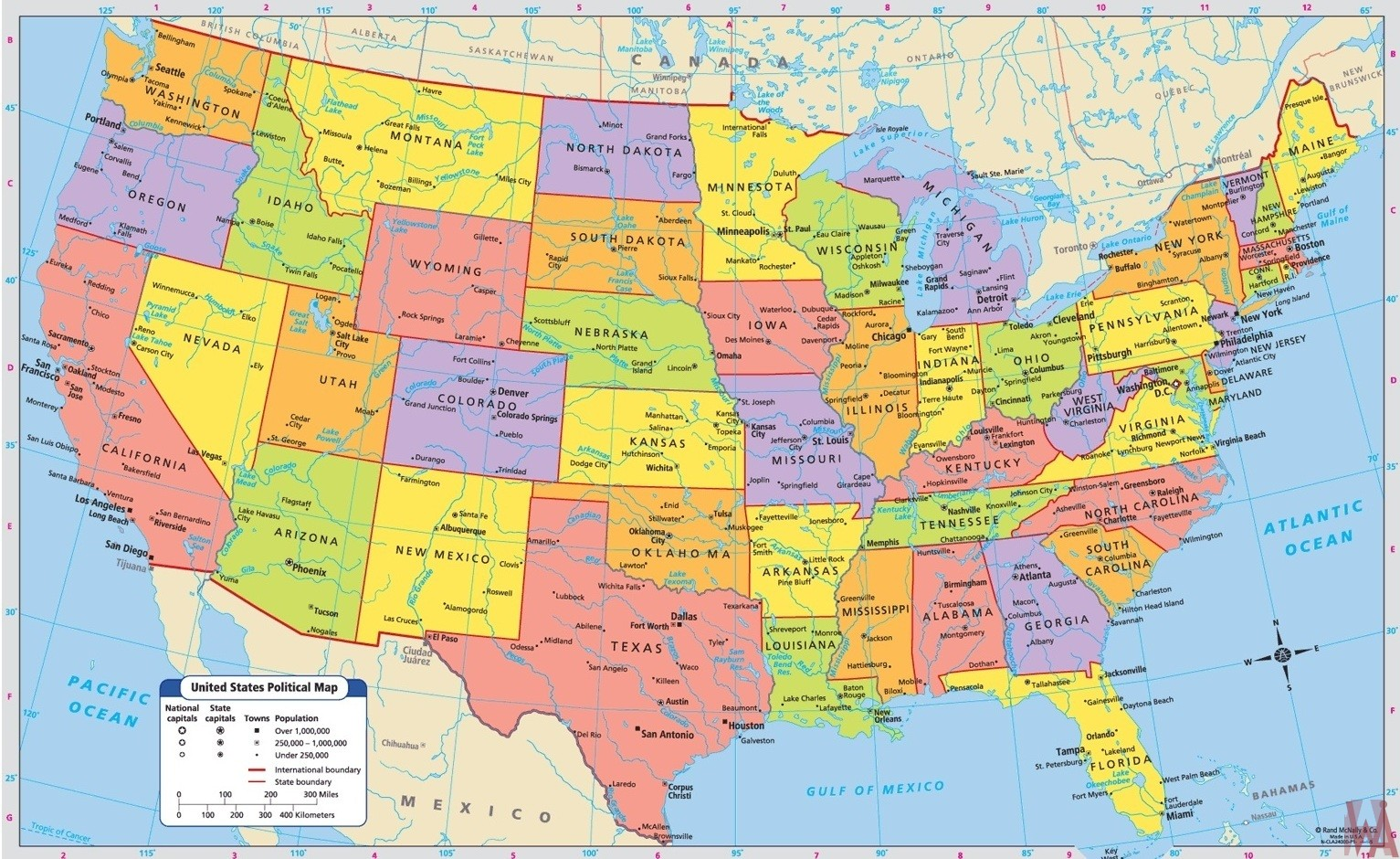 Large Detailed Political Map Major Cities Of The Usa Whatsanswer - Large-map-us
