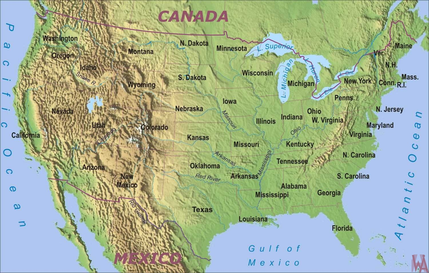 physical geographical map of usa with rivers and mountains