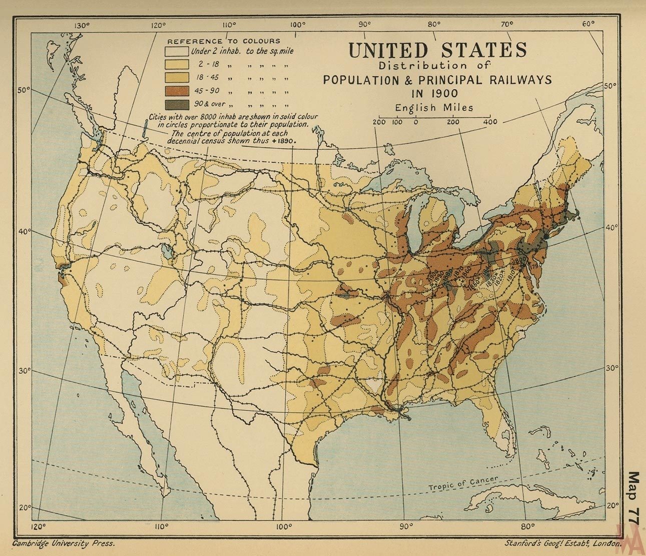 us population and railway- Source Cambridge Uni Press 1900