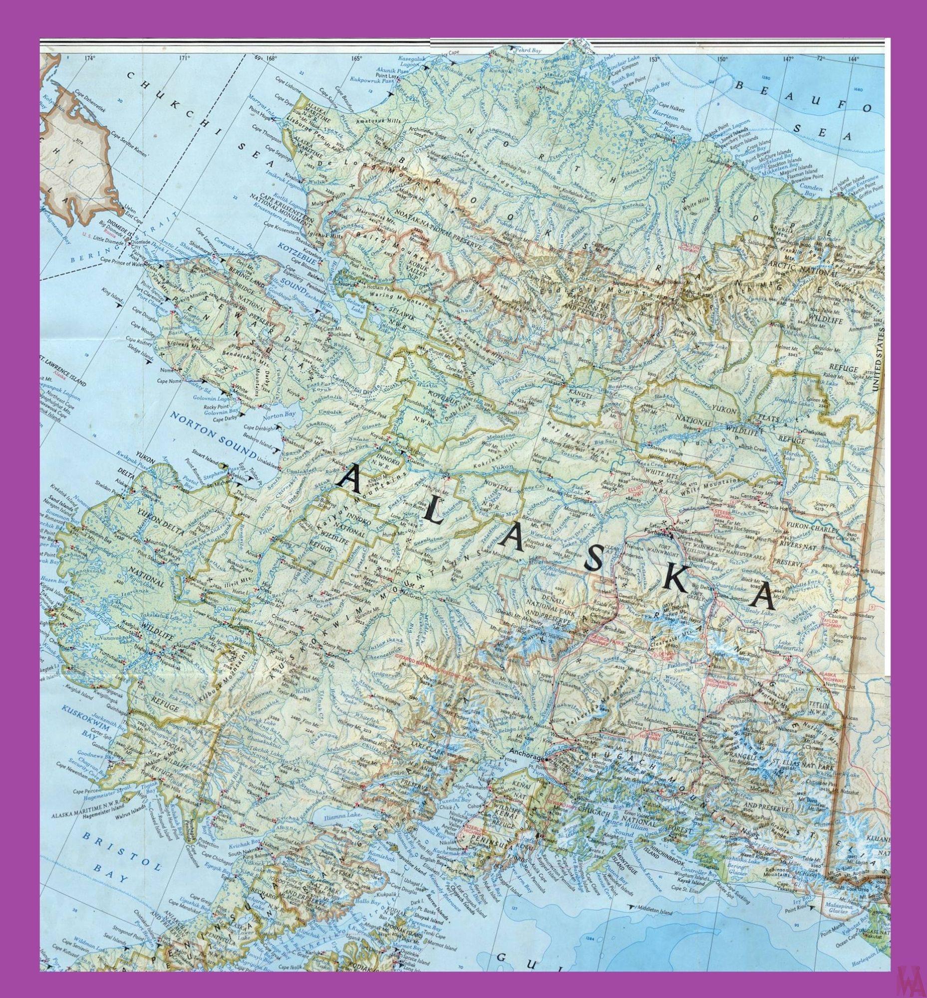 Alaska Large Detailed Map   Large Detailed Map of Alaska
