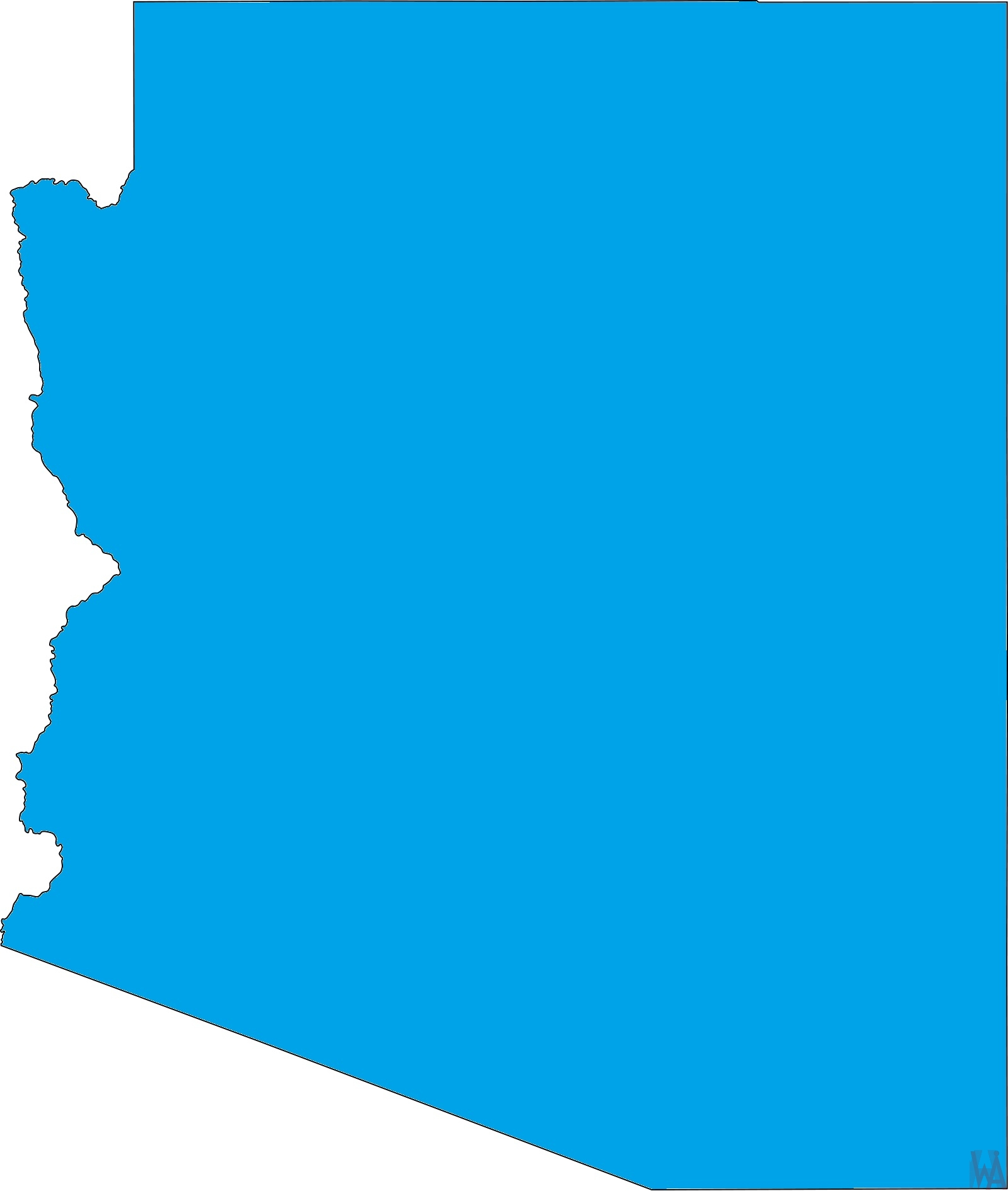 Arizona Blank Outline Map |  Blank Outline Map of Arizona – 1