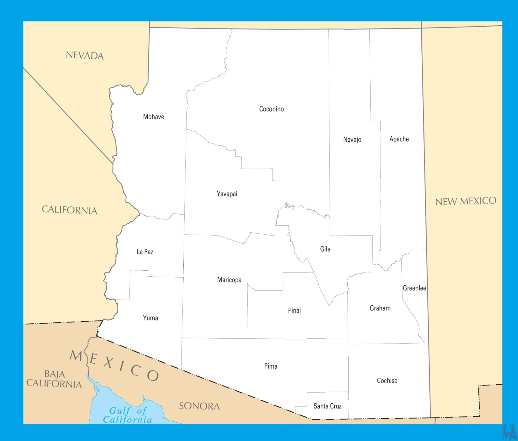 Arizona County  Map |  County Map of Arizona = 1