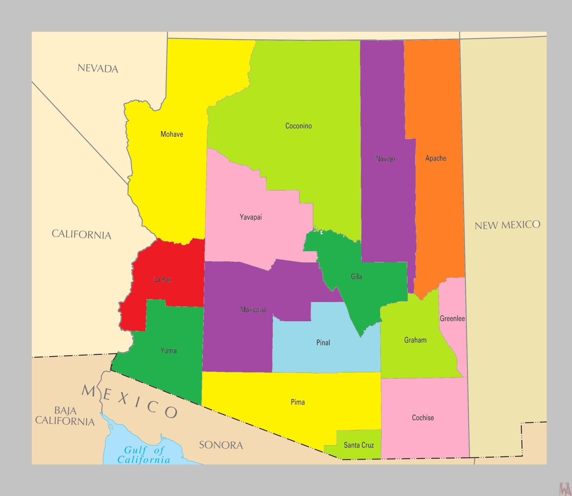 Arizona County  Map  | County Map of Arizona = 2