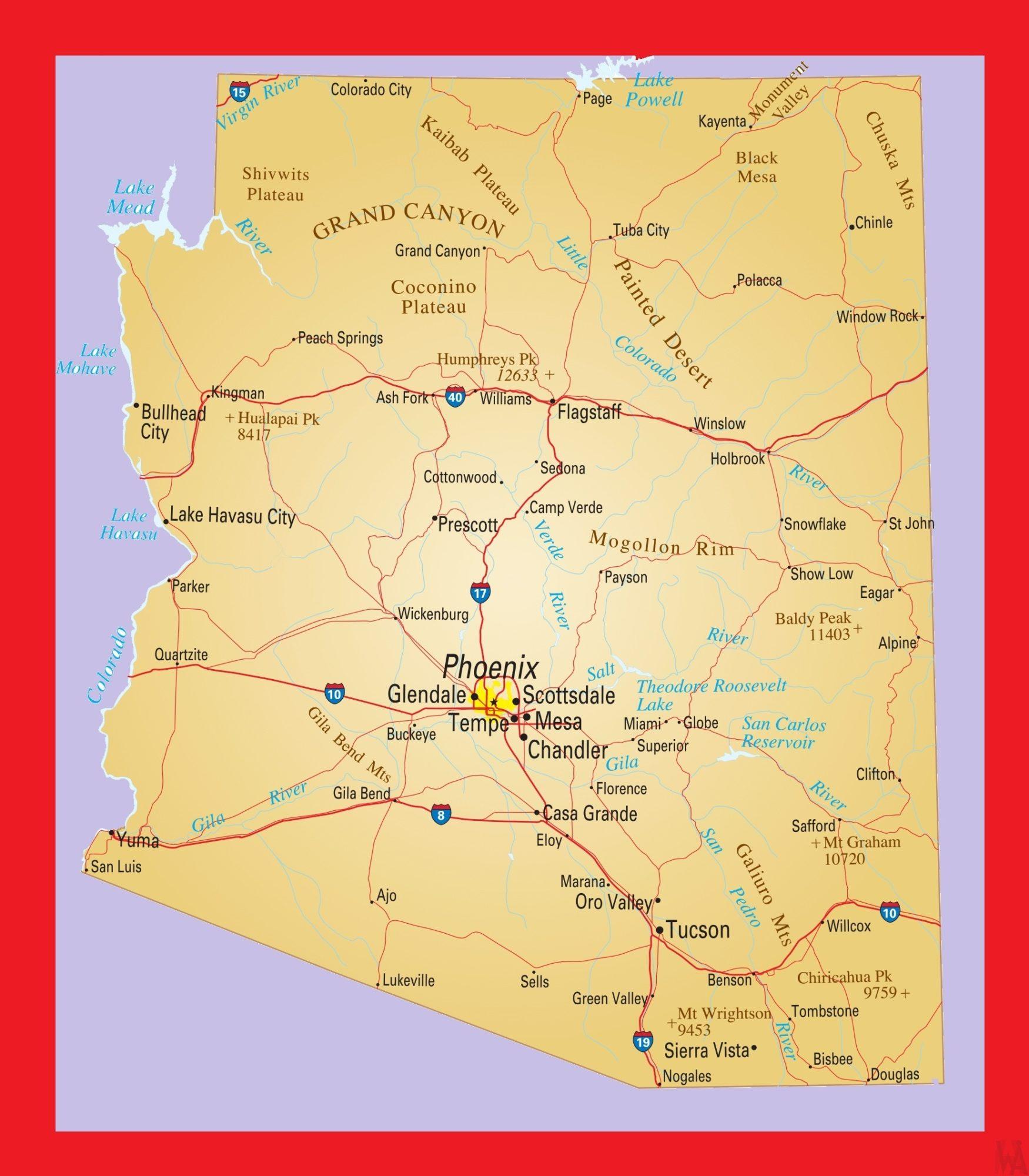 Arizona Political  Map |  Political  Map of Arizona