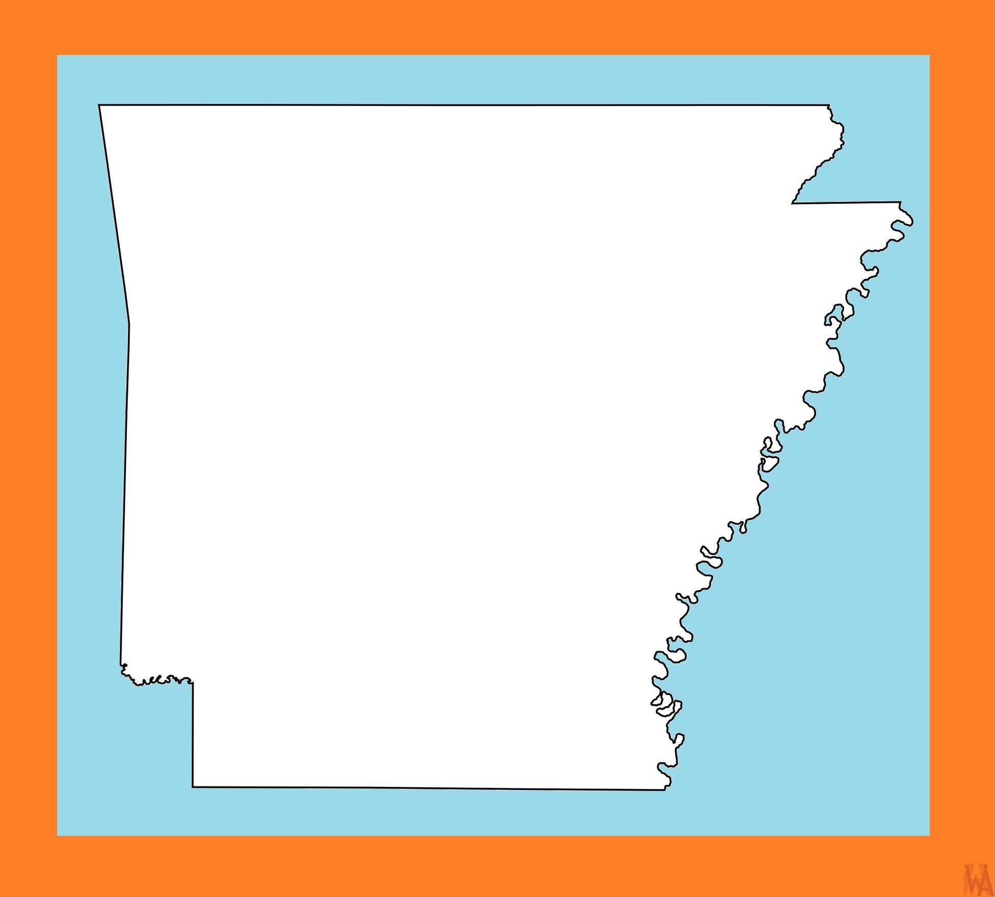 Arkansas Blank Outline Map    Blank Outline Map of  Arkansas