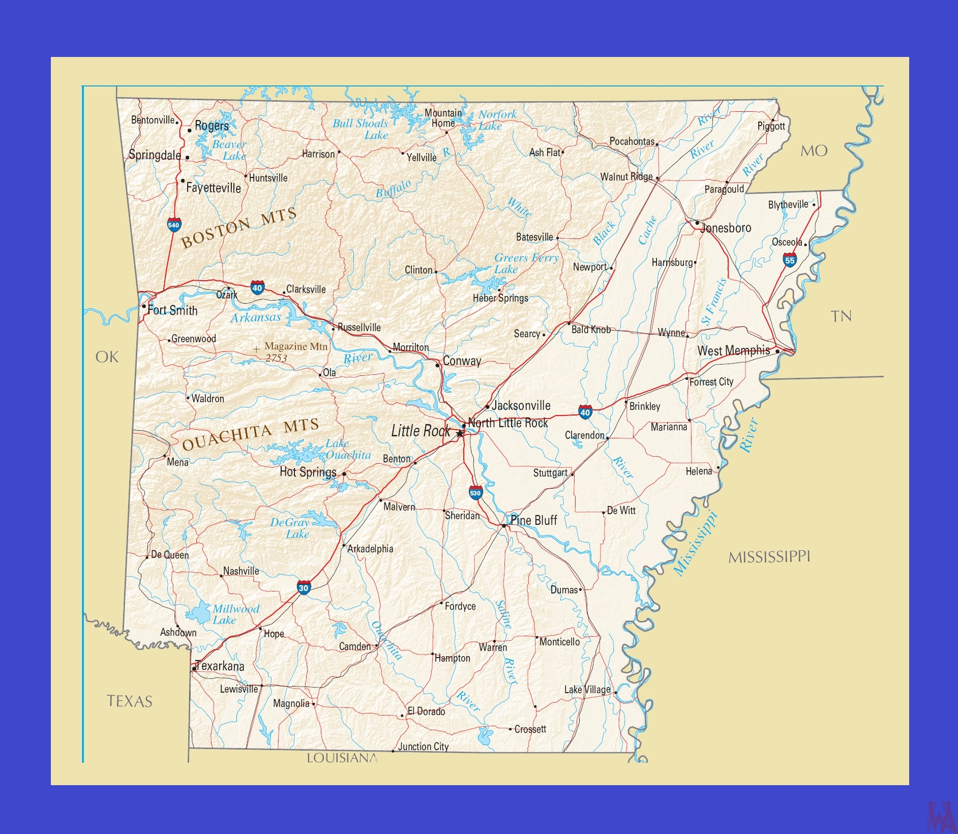 Arkansas Political  Map |  Political  Map of  Arkansas