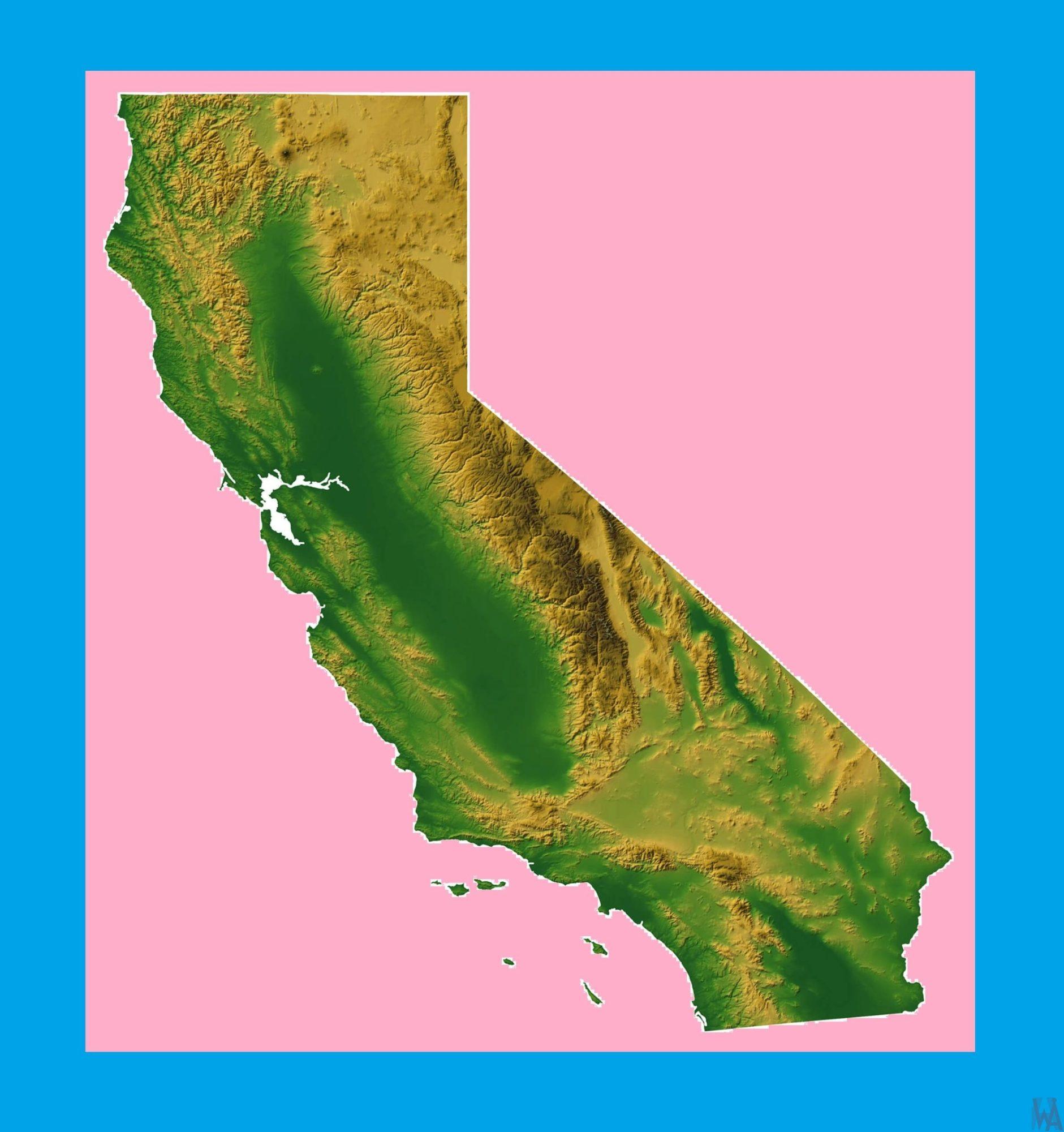 California Physical Map – 2 | Physical Map of California | WhatsAnswer