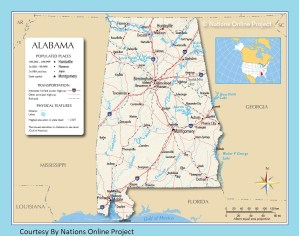 Alabama Transportation and physical map large printable