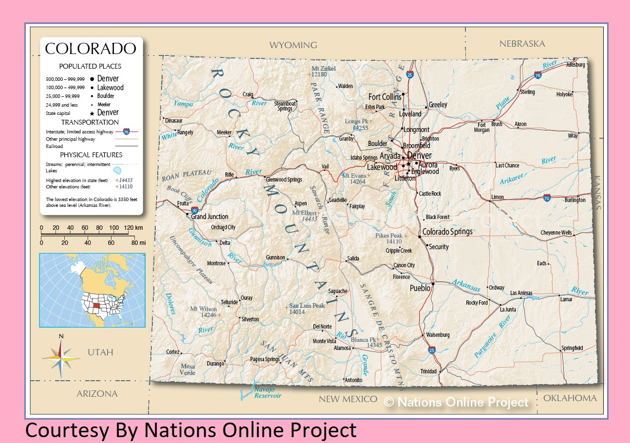Colorado Transportation and physical map large printable