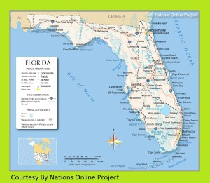 Florida Transportation and physical map large printable