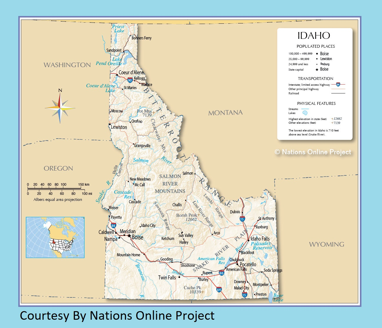 Idaho Transportation and Physical Map Large Printable