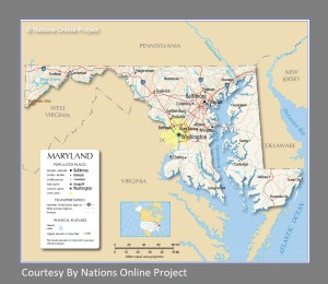 Maryland Transportation and physical map large printable