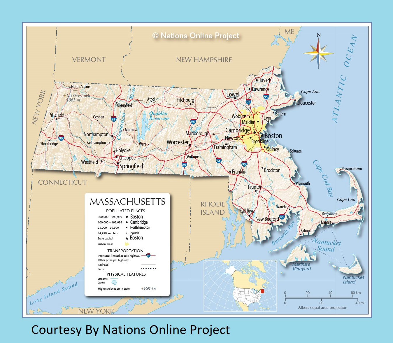 Rhode Island Transportation And Physical Map Large