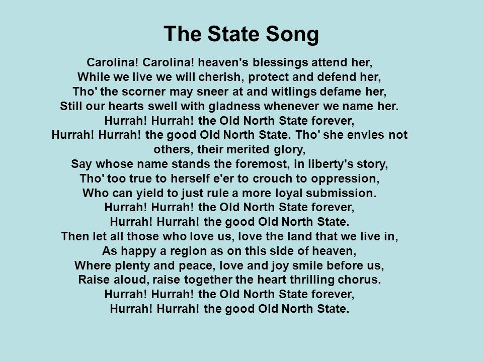 State Song And Nickname Of North Carolina