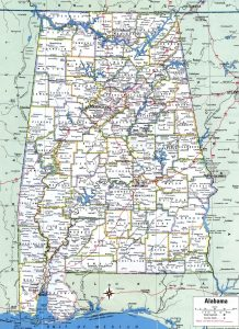 Alabama Large Political  Map   Political  Map of Alabama With Capital , city and River lake-7