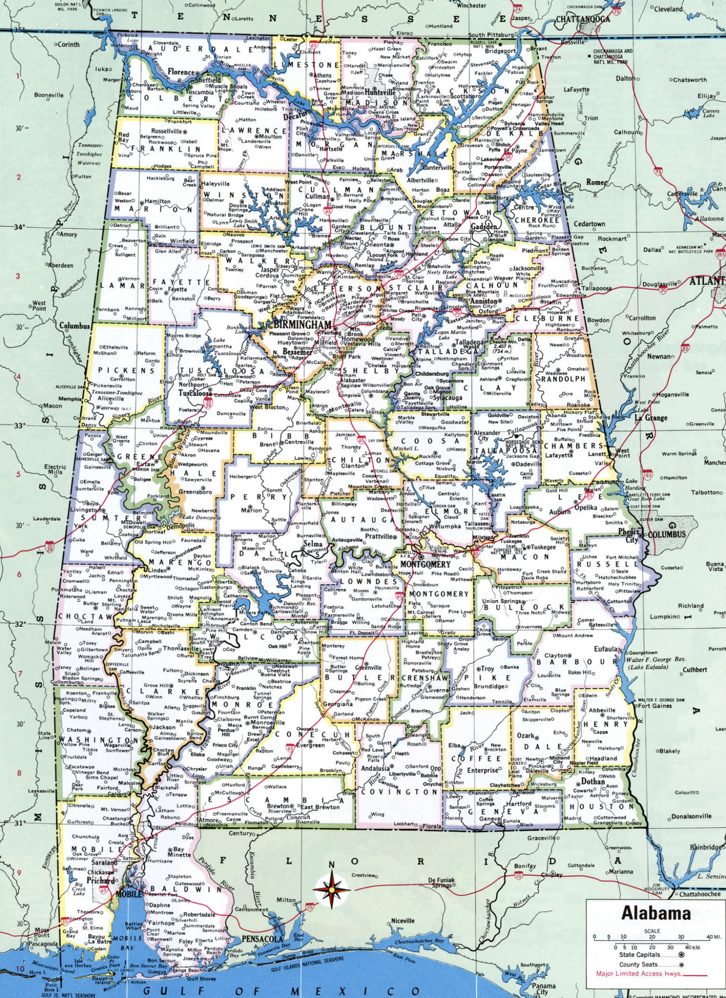 Alabama Large Political  Map   Political  Map of Alabama With Capital , city and River lake-5