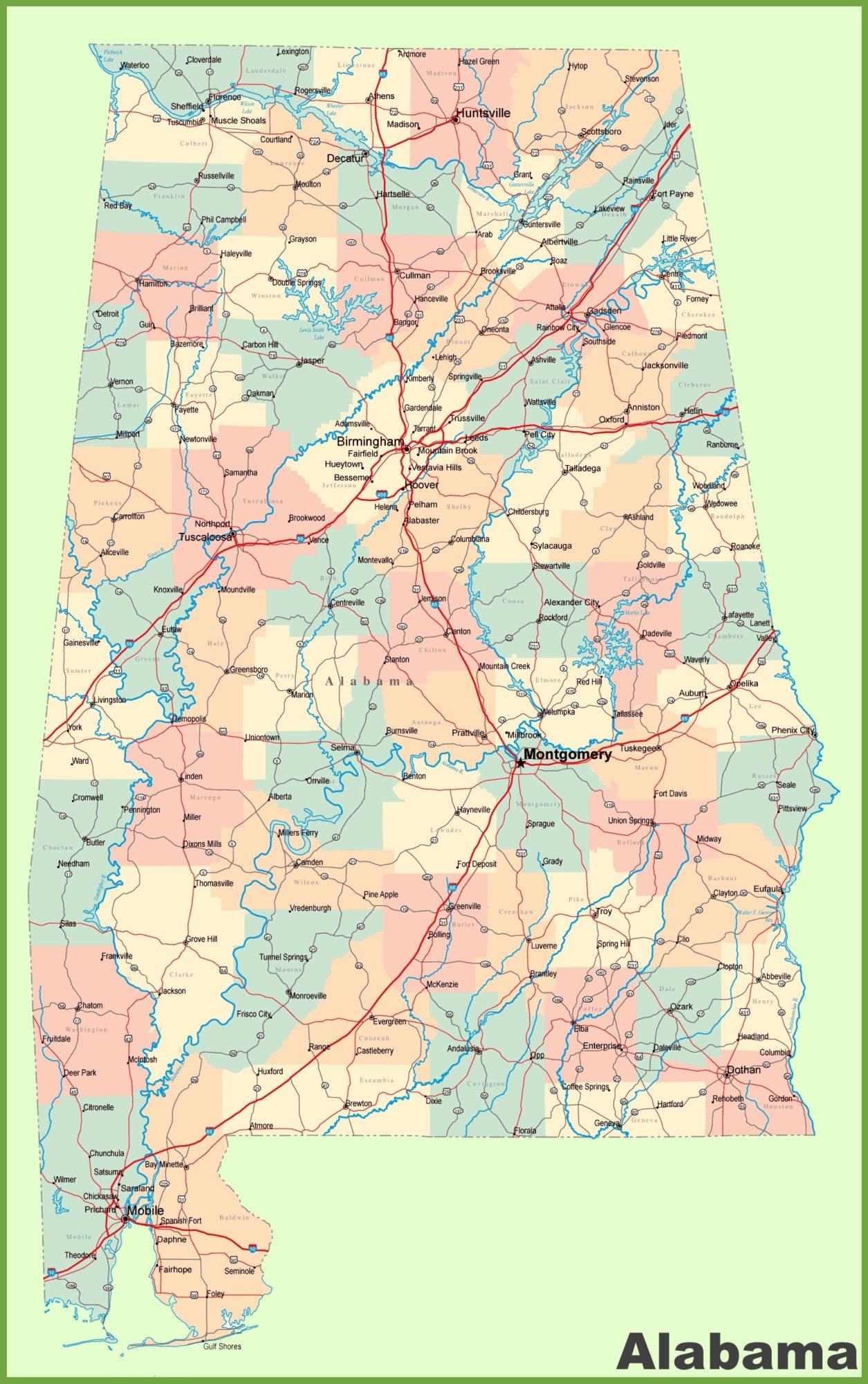 Alabama Large Detailed  Map   Large  Detailed  Map of Alabama-2 Large Printable