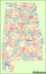 Alabama Large Detailed  Map   Large  Detailed  Map of Alabama-2 Large Printable