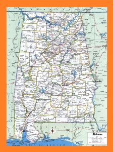 Alabama Political  Map   Political  Map of Alabama With Capital , city and River lake-3 Large Printable
