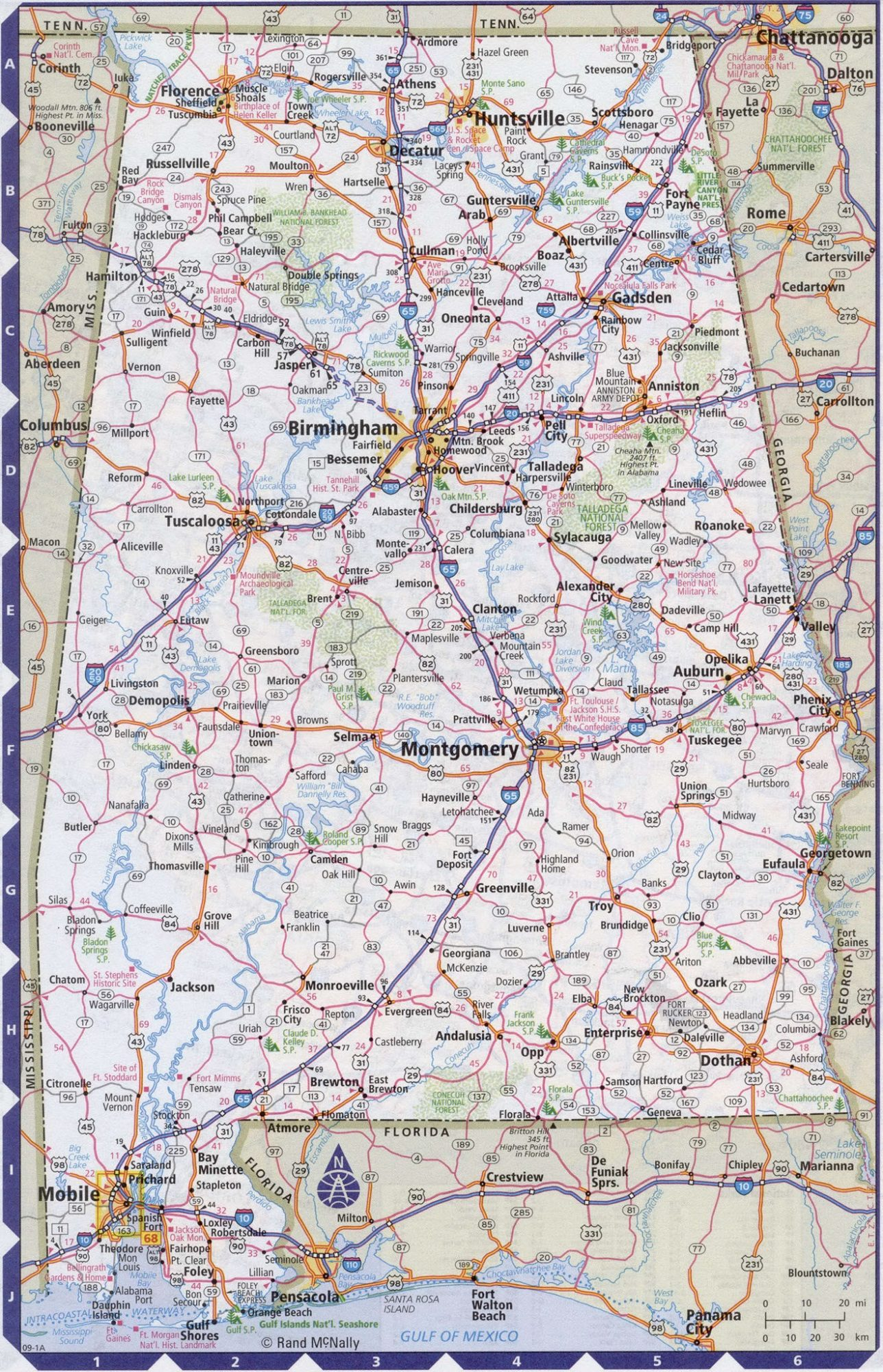Alabama Road Map Road Map of Alabama. High Resolution, Large, city town county