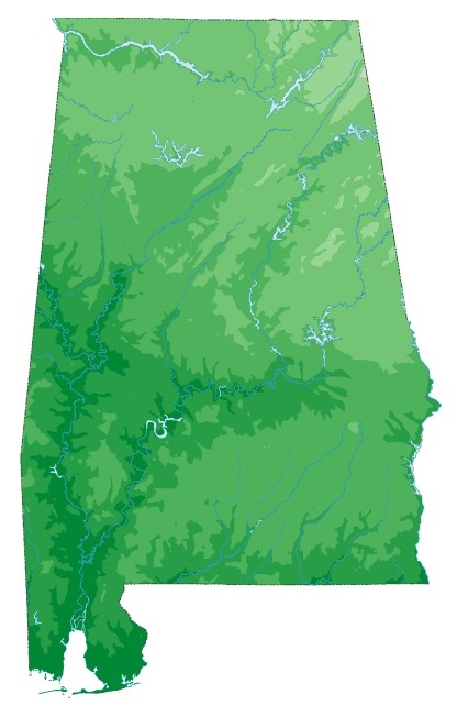 Alabama Static Topography  Map | Static  Topography  Map of Alabama Large