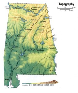 Alabama Topography  Map |  Topography  Map of Alabama Large and Attractive