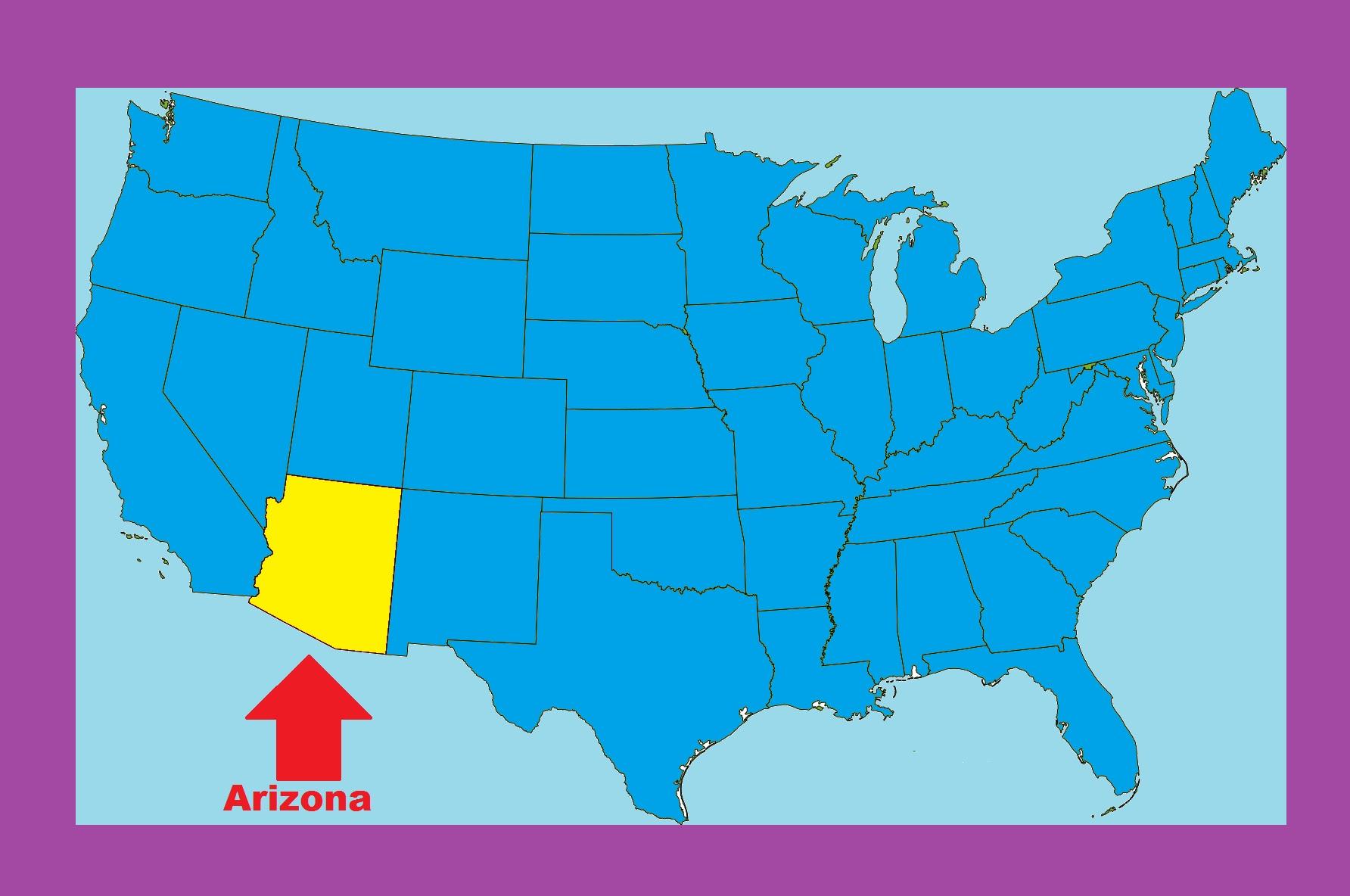 Arizona Location Map   Large Printable and Standard Map