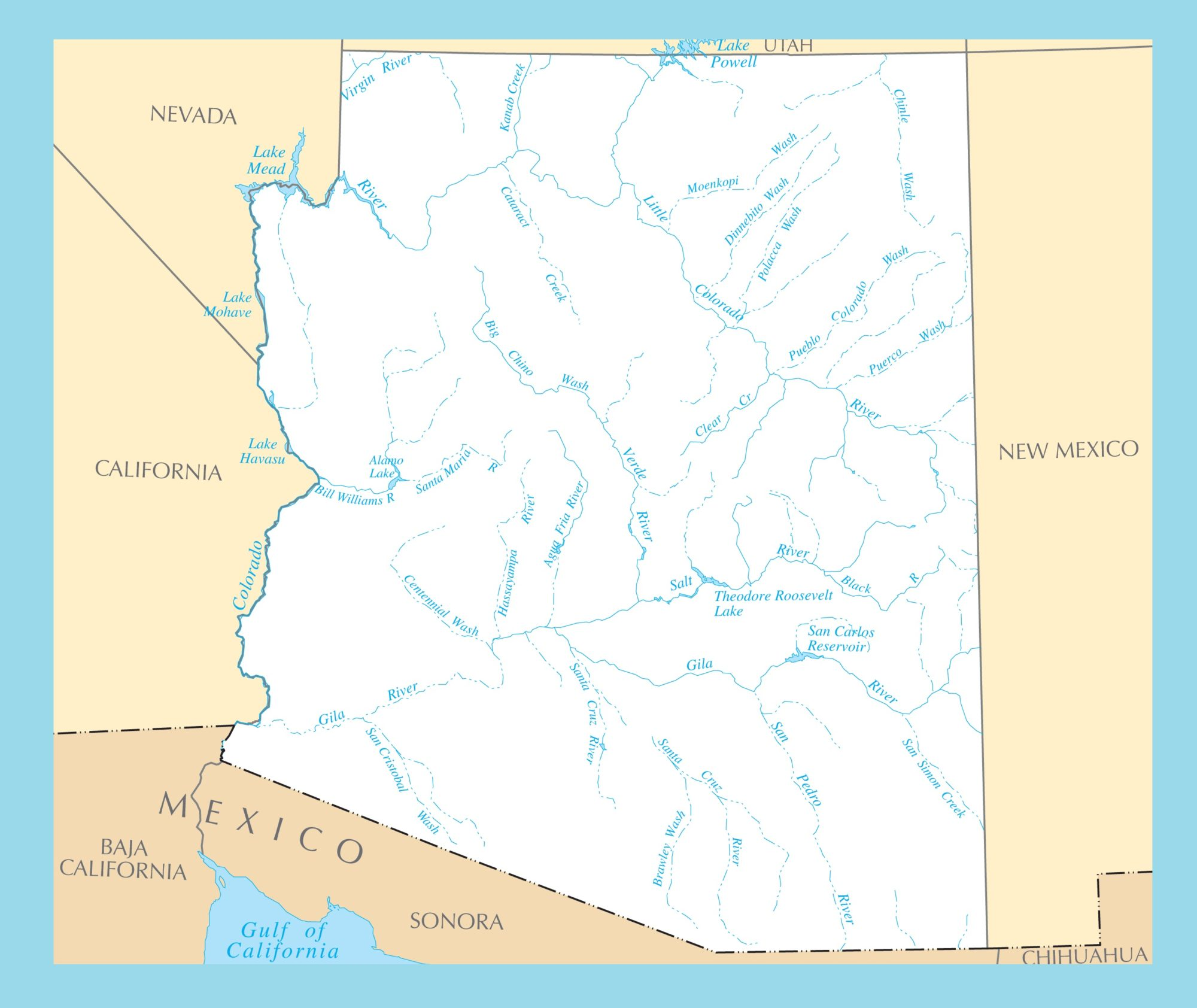 Arizona River Map | Large Printable and Standard Map 2