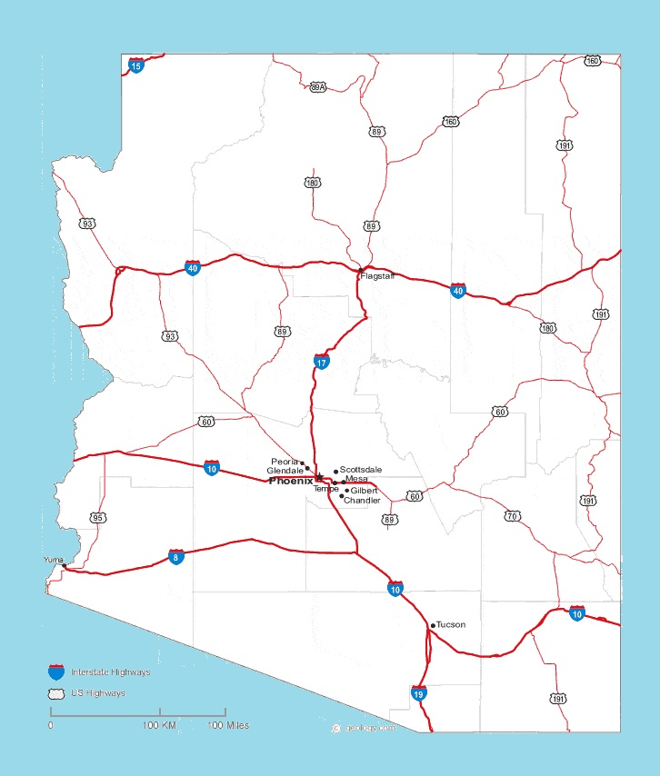 Arizona Road Map | Large Printable and Standard Map