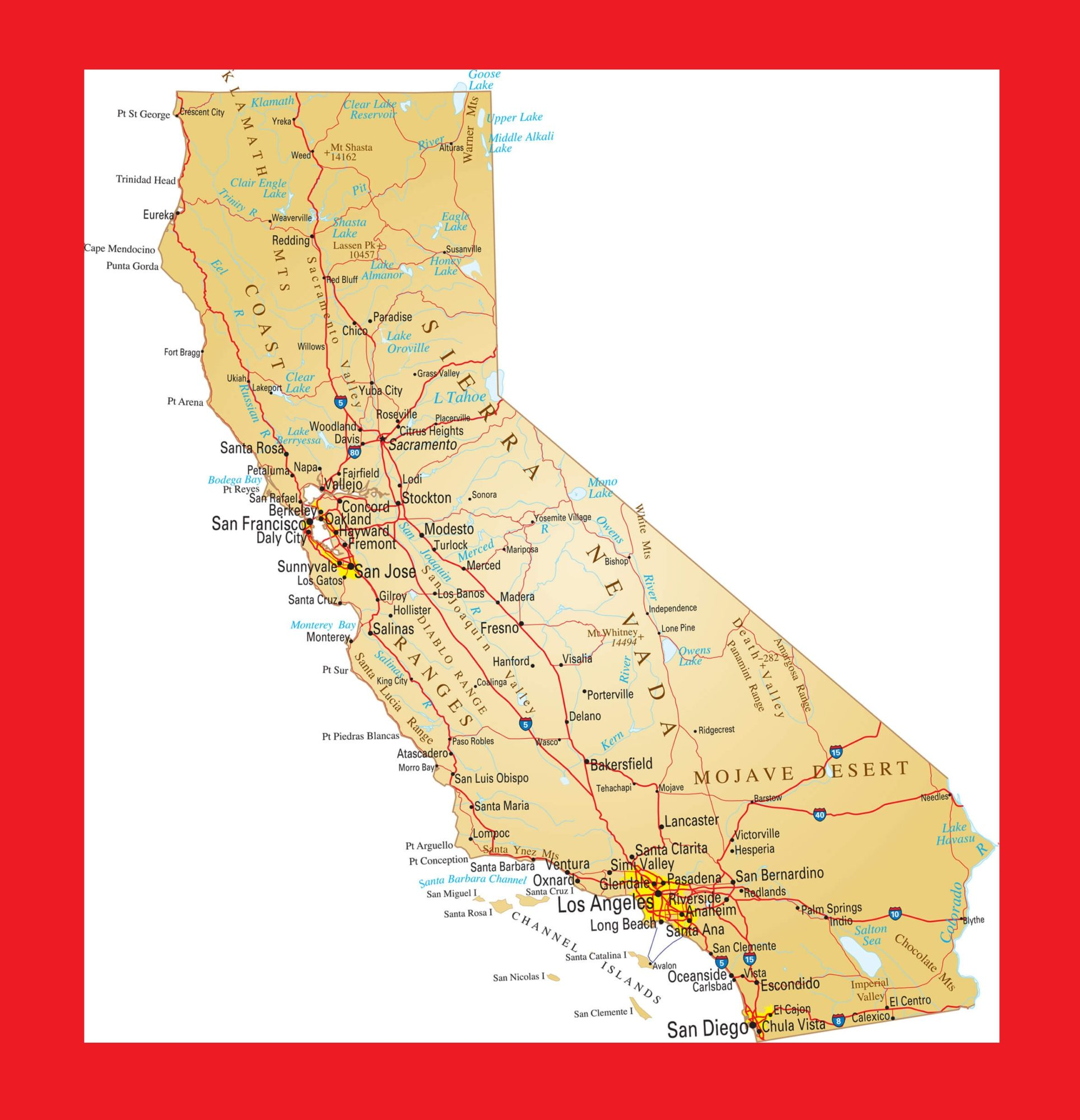 California Political Map | Large Printable and Standard Map – 2