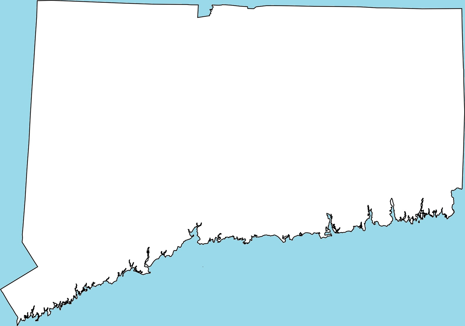 Connecticut Blank Outline Map | Large Printable and Standard Map 3